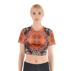 Boho Bohemian Hippie Floral Abstract Faded  Cotton Crop Top