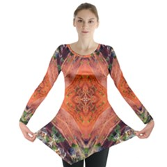 Boho Bohemian Hippie Floral Abstract Faded  Long Sleeve Tunic