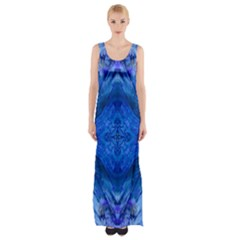 Boho Bohemian Hippie Tie Dye Cobalt Maxi Thigh Split Dress
