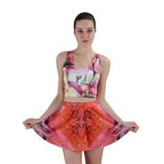 Boho Bohemian Hippie Retro Tie Dye Summer Flower Garden design Mini Skirt