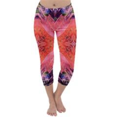 Boho Bohemian Hippie Retro Tie Dye Summer Flower Garden design Capri Winter Leggings