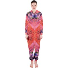 Boho Bohemian Hippie Retro Tie Dye Summer Flower Garden design Hooded Jumpsuit (Ladies)