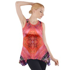 Boho Bohemian Hippie Retro Tie Dye Summer Flower Garden Design Side Drop Tank Tunic