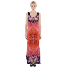 Boho Bohemian Hippie Retro Tie Dye Summer Flower Garden design Maxi Thigh Split Dress