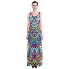 Mariager   Bold Blue,purple And Yellow Flower Design   Sleeveless Maxi Dress