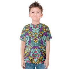 Mariager   Bold Blue,purple And Yellow Flower Design   Kid s Cotton Tee