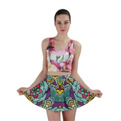 Mariager   Bold Blue,purple And Yellow Flower Design   Mini Skirt