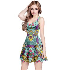 Mariager   Bold Blue,purple And Yellow Flower Design   Reversible Sleeveless Dress