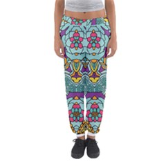 Mariager   Bold Blue,purple And Yellow Flower Design   Women s Jogger Sweatpants