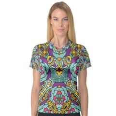 Mariager   Bold Blue,purple And Yellow Flower Design   Women s V-Neck Sport Mesh Tee