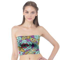 Mariager   Bold Blue,purple And Yellow Flower Design   Tube Top