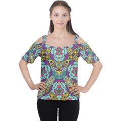 Mariager   Bold Blue,purple And Yellow Flower Design   Women s Cutout Shoulder Tee