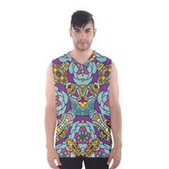 Mariager   Bold Blue,purple And Yellow Flower Design   Men s Basketball Tank Top