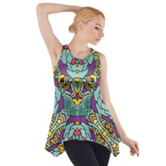 Mariager   Bold Blue,purple And Yellow Flower Design   Side Drop Tank Tunic