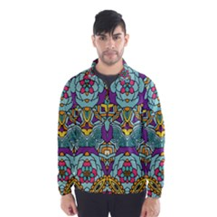 Mariager   Bold Blue,purple And Yellow Flower Design   Wind Breaker (men)