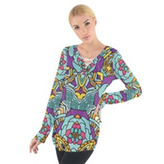 Mariager   Bold Blue,purple And Yellow Flower Design   Women s Tie Up Tee