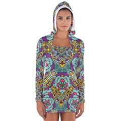 Mariager   Bold Blue,purple And Yellow Flower Design   Women s Long Sleeve Hooded T-shirt