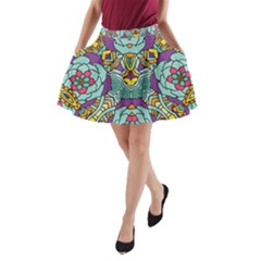 Mariager   Bold Blue,purple And Yellow Flower Design   A-Line Pocket Skirt