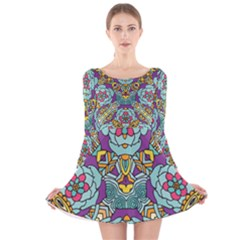 Mariager   Bold Blue,purple And Yellow Flower Design   Long Sleeve Velvet Skater Dress