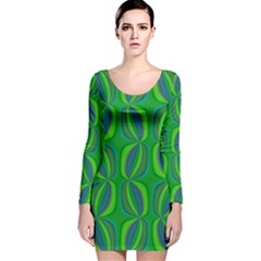 Seed Pods Wavy Abstract African Pattern Long Sleeve Velvet Bodycon Dress