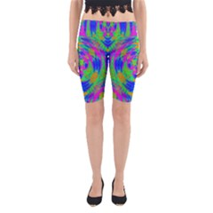 Neon Abstract Circles Yoga Cropped Leggings