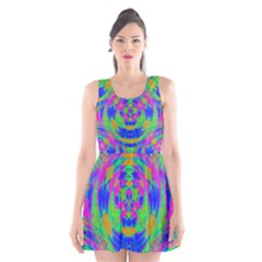 Neon Abstract Circles Scoop Neck Skater Dress