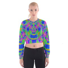 Neon Abstract Circles Women s Cropped Sweatshirt