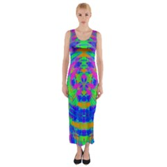Neon Abstract Circles Fitted Maxi Dress