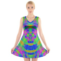 Neon Abstract Circles V-Neck Sleeveless Skater Dress