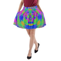 Neon Abstract Circles A-Line Pocket Skirt