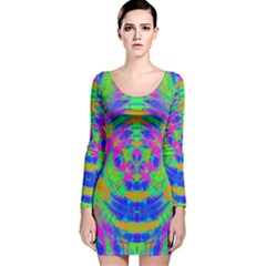 Neon Abstract Circles Long Sleeve Velvet Bodycon Dress
