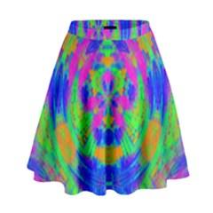 Neon Abstract Circles High Waist Skirt