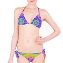 Neon Flower Sunburst Pinwheel Bikini Set
