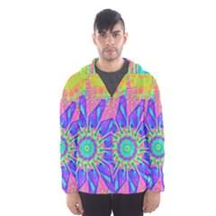 Neon Flower Sunburst Pinwheel Hooded Wind Breaker (Men)