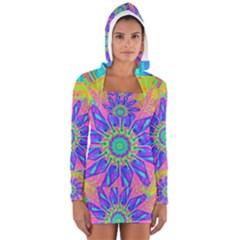 Neon Flower Sunburst Pinwheel Women s Long Sleeve Hooded T Shirt
