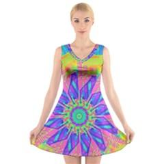 Neon Flower Sunburst Pinwheel V-Neck Sleeveless Skater Dress