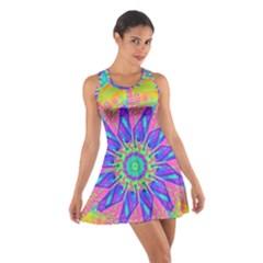 Neon Flower Sunburst Pinwheel Racerback Dresses