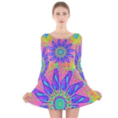 Neon Flower Sunburst Pinwheel Long Sleeve Velvet Skater Dress