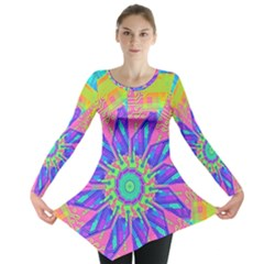 Neon Flower Sunburst Pinwheel Long Sleeve Tunic