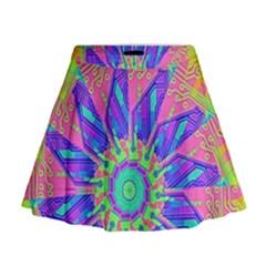 Neon Flower Sunburst Pinwheel Mini Flare Skirt