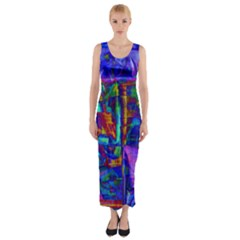 Neon Abstract Modern Art Fitted Maxi Dress