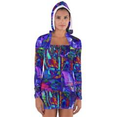 Neon Abstract Modern Art Women s Long Sleeve Hooded T-shirt