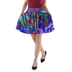 Neon Abstract Modern Art A-Line Pocket Skirt
