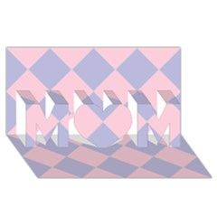 Harlequin Diamond Argyle Pastel Pink Blue MOM 3D Greeting Card (8x4)