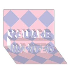 Harlequin Diamond Argyle Pastel Pink Blue YOU ARE INVITED 3D Greeting Card (7x5)