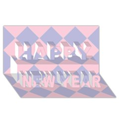 Harlequin Diamond Argyle Pastel Pink Blue Happy New Year 3D Greeting Card (8x4)
