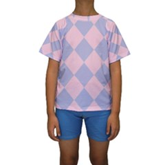 Harlequin Diamond Argyle Pastel Pink Blue Kid s Short Sleeve Swimwear