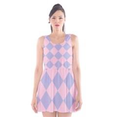 Harlequin Diamond Argyle Pastel Pink Blue Scoop Neck Skater Dress