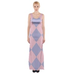 Harlequin Diamond Argyle Pastel Pink Blue Maxi Thigh Split Dress