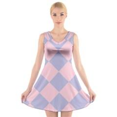 Harlequin Diamond Argyle Pastel Pink Blue V Neck Sleeveless Skater Dress